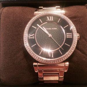 MK Rose gold watch w/ black crystals.